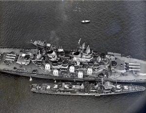 Renshaw alongside a Battleship